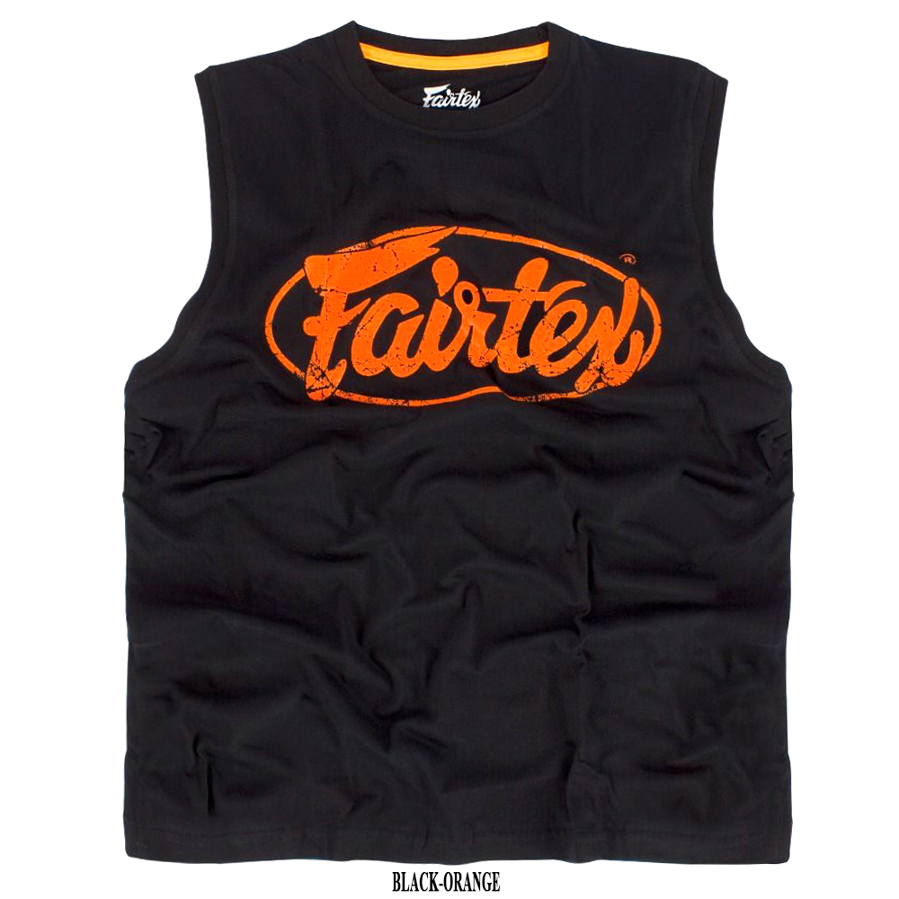 Майка Fairtex MTT27CottonJerseyМуайТайТренировочная Хлопок Черно-Оранжевая