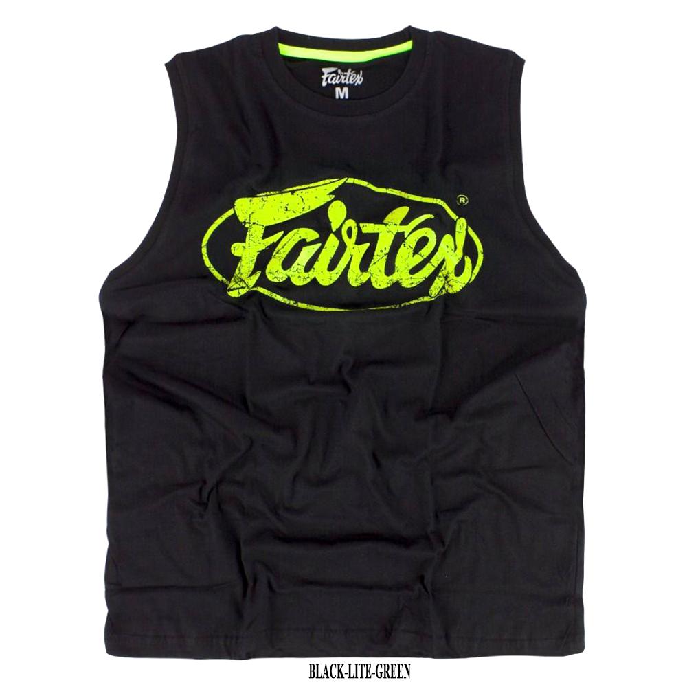 Майка Fairtex MTT27CottonJerseyМуайТайТренировочная Хлопок Черно-Зеленая