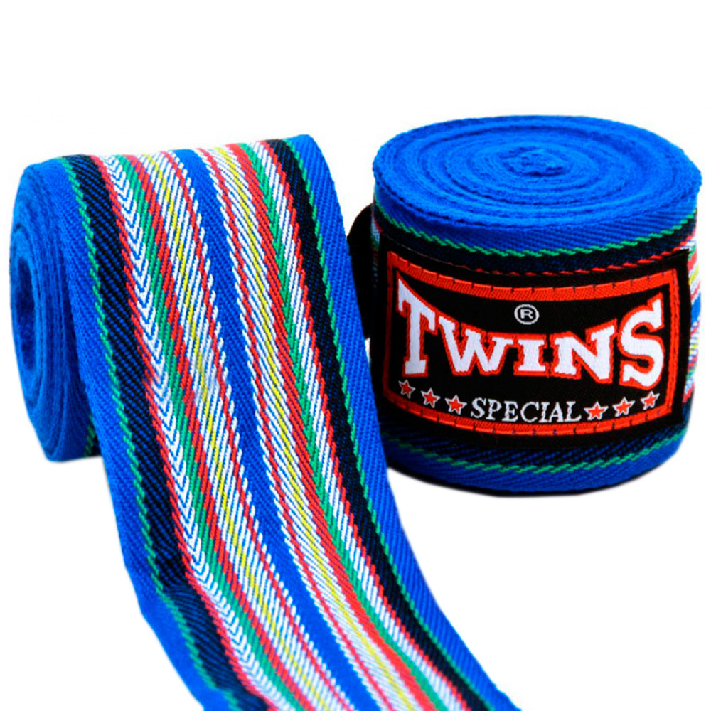 Бинты Тайский Бокс Twins Special Полосатые Синие
