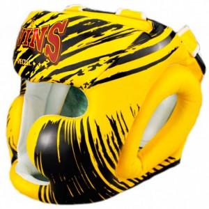 Боксерский шлем TWINS  FHGl-TW2 Black Yellow