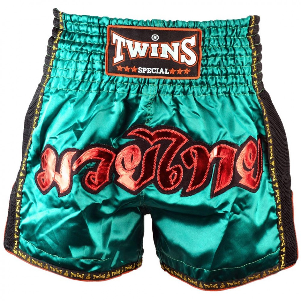 Шорты Twins для тайского бокса TWS с Сеткой Серебро