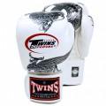 Боксерские Перчатки Twins Special FBGV-23 Белые с Серебряным Драконом