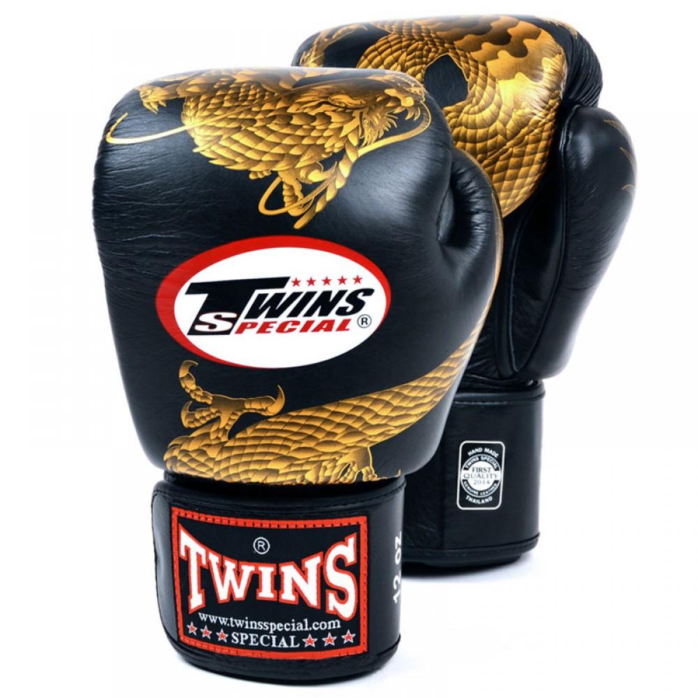 Тайские перчатки Твинс FBGV-23 Черные с Золотым Драконом