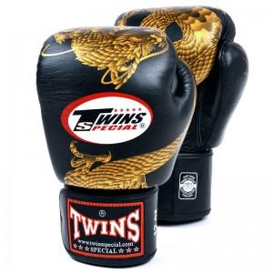 Боксерские Перчатки Twins Special FBGV-23 Черные с Золотым Драконом 14 oz